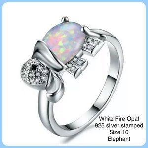 White Fire Opal  925 Silver Elephant Ring SZ 10